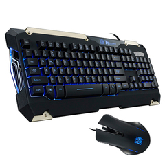 Combo Teclado y Mouse Thermaltake commander LED Azul